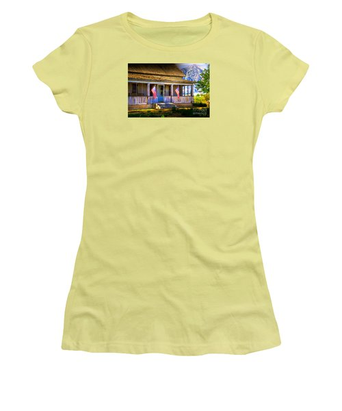 Rustic Patriotic House Women's T-Shirt (Junior Cut) by Kelly Wade