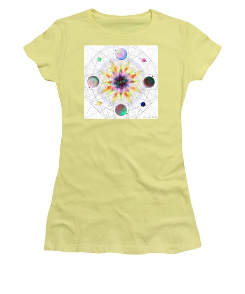 Women's T-Shirt (Athletic Fit) featuring the digital art Sacred Planetary Geometry - Red Atom Light by Iowan Stone-Flowers
