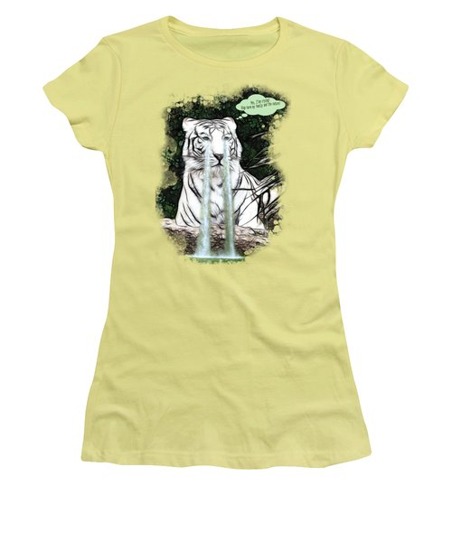 Women's T-Shirt (Junior Cut) featuring the painting Sad White Tiger Typography by Georgeta Blanaru