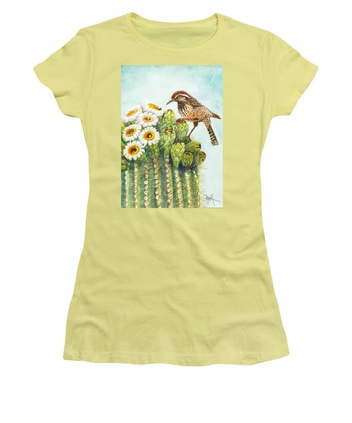Women's T-Shirt (Junior Cut) featuring the painting Saguaro And Cactus Wren by Marilyn Smith
