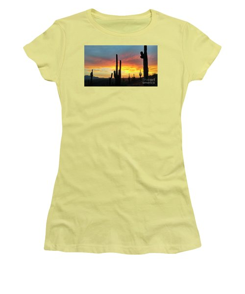 Women's T-Shirt (Junior Cut) featuring the photograph Saguaro Sunset by Anthony Citro