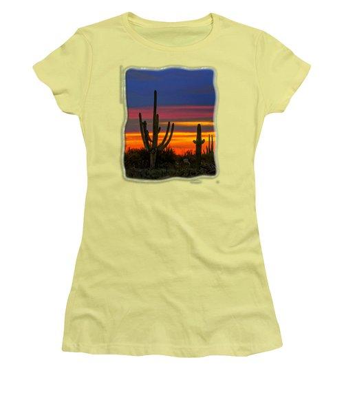 Saguaro Sunset V31 Women's T-Shirt (Junior Cut) by Mark Myhaver