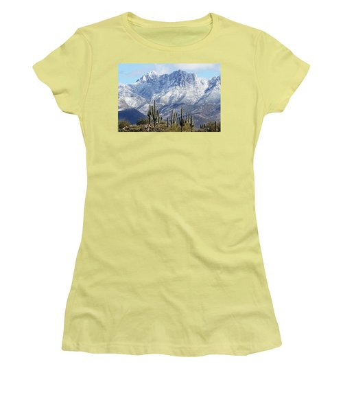 Saguaros At Four Peaks With Snow Women's T-Shirt (Junior Cut) by Tom Janca