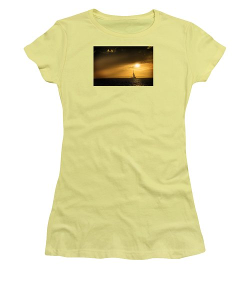 Sail Away Maui Women's T-Shirt (Junior Cut) by Janis Knight