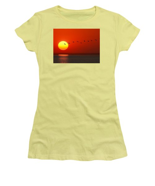Women's T-Shirt (Junior Cut) featuring the photograph Sailboat At Sunset by Joe Bonita