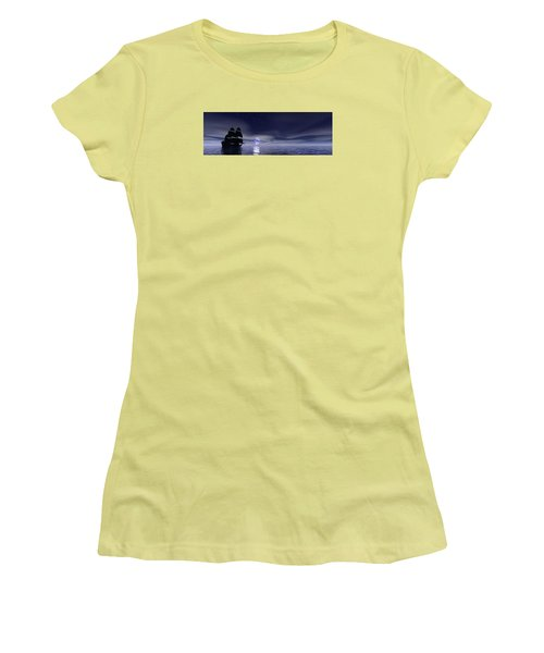 Sails Beneath The Moon Women's T-Shirt (Junior Cut) by Mark Blauhoefer