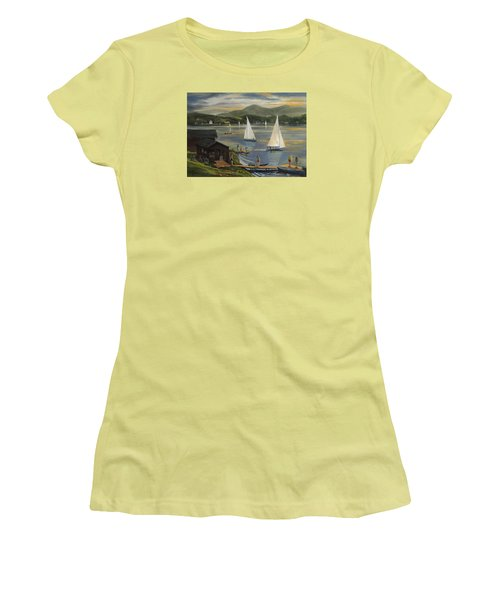 Sailing At Lake Morey Vermont Women's T-Shirt (Junior Cut) by Nancy Griswold
