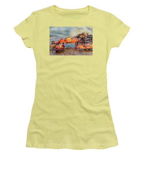 Sally Lightfoot Crab On Galapagos Islands Women's T-Shirt (Junior Cut) by Marek Poplawski