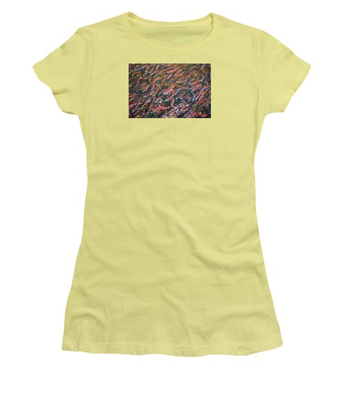 Salmon So Thick You Can Walk On Them Women's T-Shirt (Junior Cut) by Mary Lee Dereske
