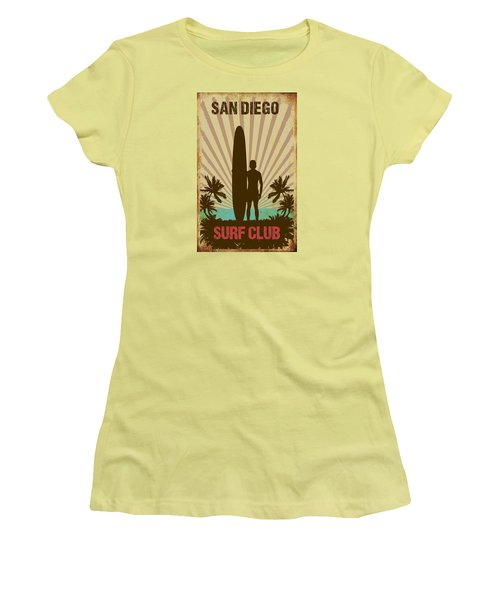 San Diego Surf Club Women's T-Shirt (Junior Cut) by Greg Sharpe