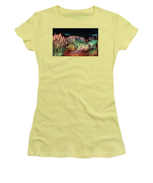 Sand Dunes At Night On The Outer Banks Ap Women's T-Shirt (Junior Cut) by Dan Carmichael