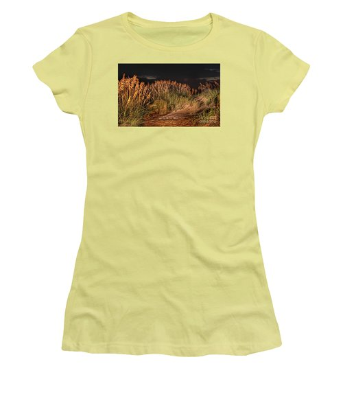 Women's T-Shirt (Junior Cut) featuring the photograph Sand Dunes At Night On The Outer Banks by Dan Carmichael