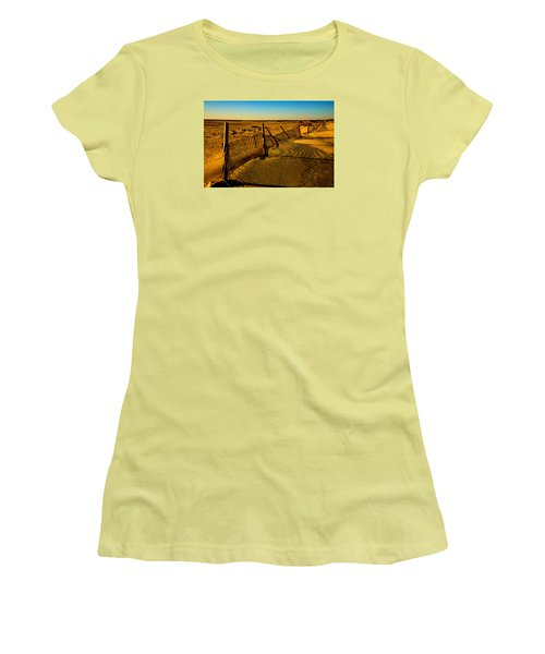 Women's T-Shirt (Junior Cut) featuring the photograph Sand Fences At Lands End II by John Harding