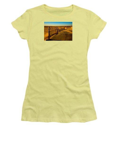 Sand Fences At Lands End II Women's T-Shirt (Athletic Fit)