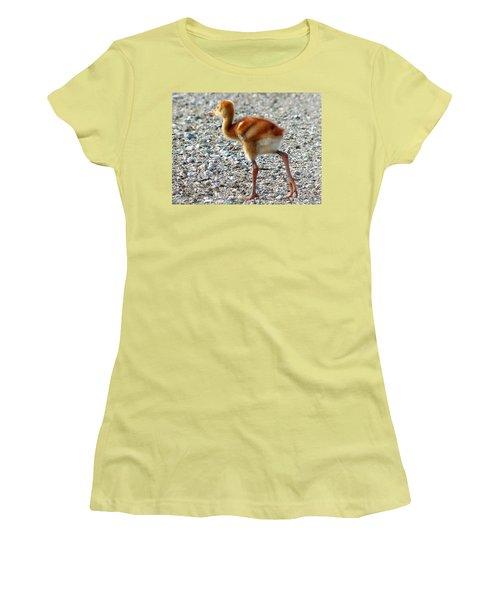 Women's T-Shirt (Junior Cut) featuring the photograph Sandhill Crane Chick 003 by Chris Mercer