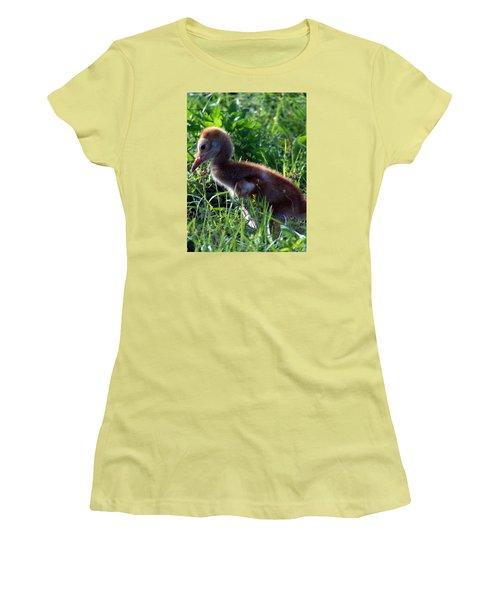 Women's T-Shirt (Junior Cut) featuring the photograph Sandhill Crane Chick 087  by Chris Mercer