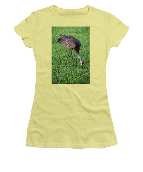 Sandhill Crane II Women's T-Shirt (Junior Cut) by Richard Rizzo