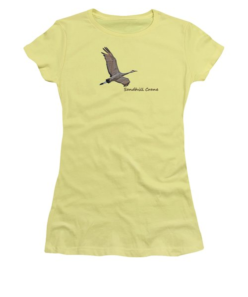 Sandhill Crane In Flight Women's T-Shirt (Junior Cut) by Whispering Peaks Photography