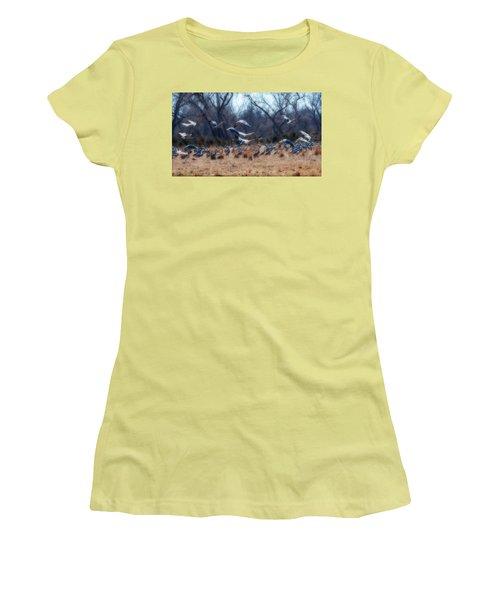 Women's T-Shirt (Junior Cut) featuring the photograph Sandhill Crane Taking Flight by Edward Peterson