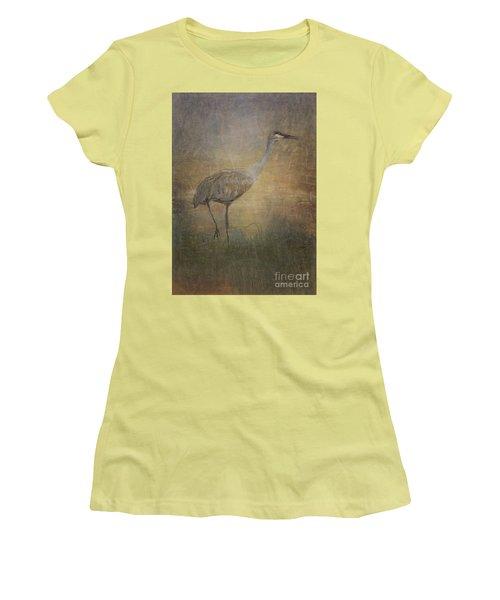 Sandhill Crane Watercolor Women's T-Shirt (Junior Cut) by Janice Rae Pariza