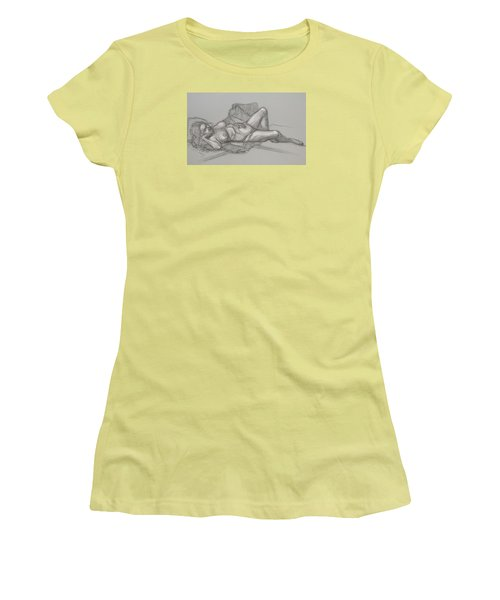 Women's T-Shirt (Junior Cut) featuring the drawing Sandra Sleepimg by Donelli  DiMaria