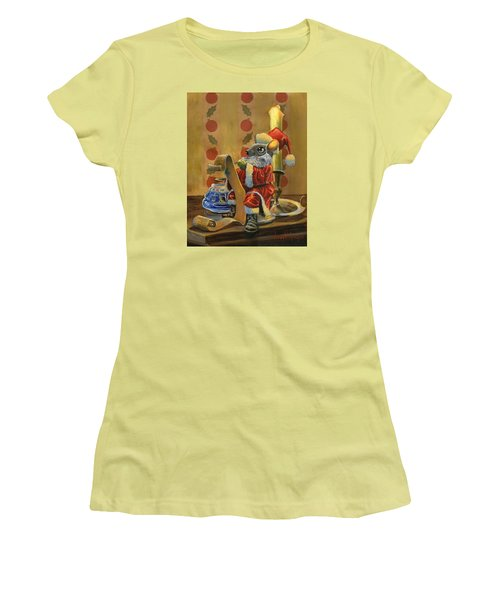 Santa Mouse Women's T-Shirt (Junior Cut) by Jeff Brimley