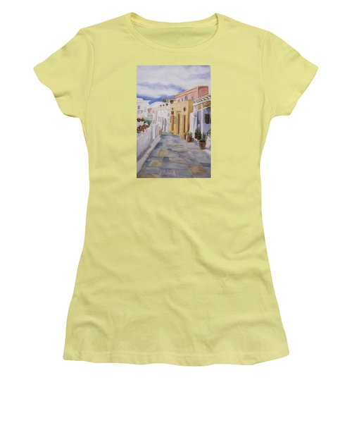 Santorini Cloudy Day Women's T-Shirt (Junior Cut) by Teresa Beyer