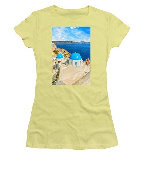 Santorini Oia Church Caldera View Digital Painting Women's T-Shirt (Athletic Fit)