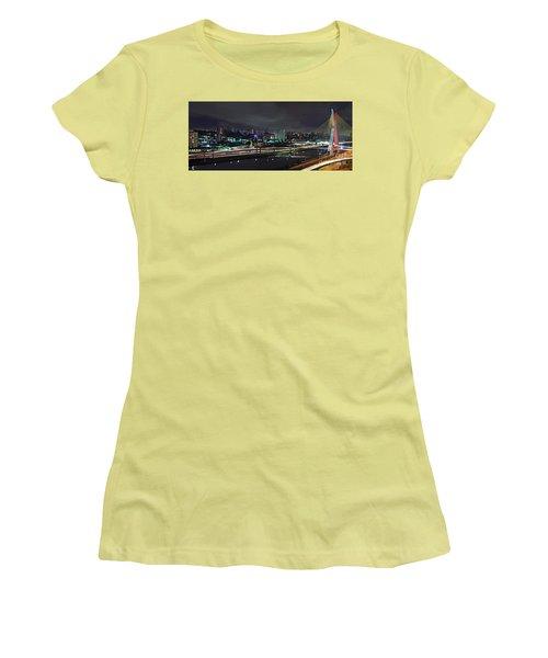 Sao Paulo Skyline - Ponte Estaiada Octavio Frias De Oliveira Wit Women's T-Shirt (Athletic Fit)