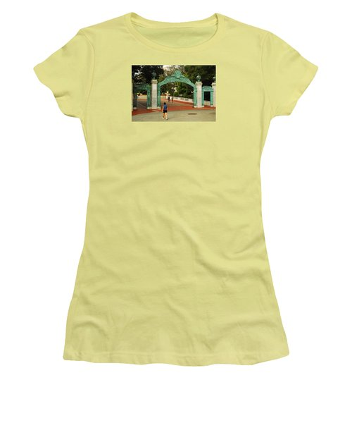 Women's T-Shirt (Junior Cut) featuring the photograph Sather Gate Berkeley by James Kirkikis