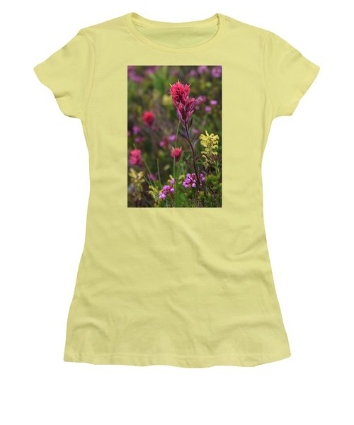 Women's T-Shirt (Athletic Fit) featuring the photograph Scarlet Paintbrush by David Chandler