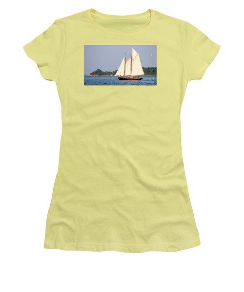Schooner Cruise, Casco Bay, South Portland, Maine  -86696 Women's T-Shirt (Junior Cut) by John Bald