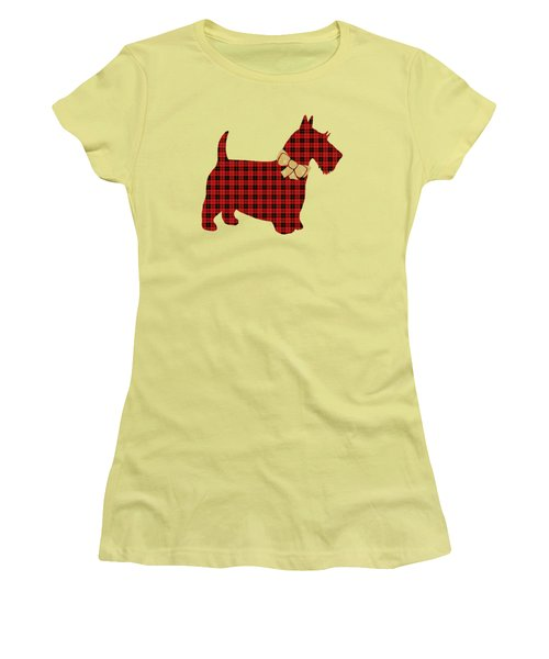 Women's T-Shirt (Junior Cut) featuring the mixed media Scottie Dog Plaid by Christina Rollo