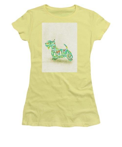 Women's T-Shirt (Athletic Fit) featuring the painting Scottish Terrier Dog Watercolor Painting / Typographic Art by Ayse and Deniz