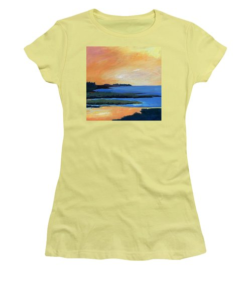 Women's T-Shirt (Junior Cut) featuring the painting Sea And Sky by Gary Coleman