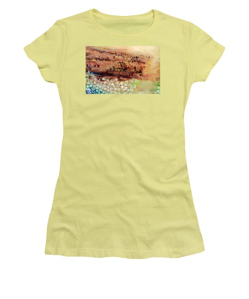 Women's T-Shirt (Athletic Fit) featuring the painting Sea Earth  by Winsome Gunning