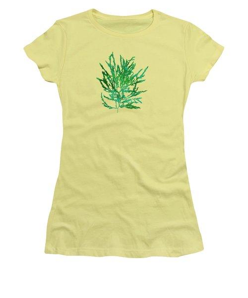 Women's T-Shirt (Junior Cut) featuring the mixed media Sea Green Seaweed Art Odonthalia Dentata by Christina Rollo