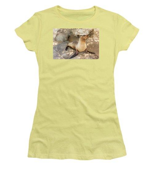 Sea Lion On The Beach, Galapagos Islands Women's T-Shirt (Junior Cut) by Marek Poplawski
