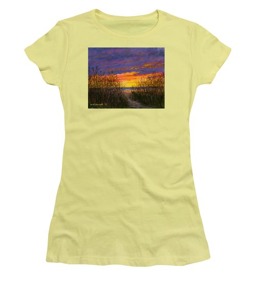 Women's T-Shirt (Junior Cut) featuring the painting Sea Oat Sunrise # 2 by Kathleen McDermott