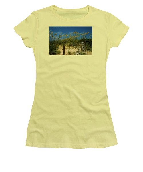 Women's T-Shirt (Junior Cut) featuring the photograph Sea Oats And Sand Fence by John Harding