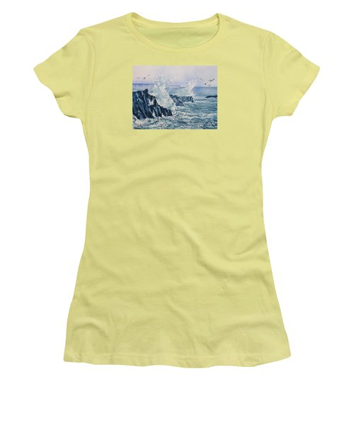 Sea, Splashes And Gulls Women's T-Shirt (Athletic Fit)