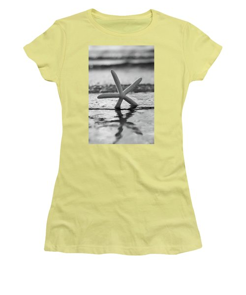 Women's T-Shirt (Junior Cut) featuring the photograph Sea Star Bw Vert by Laura Fasulo