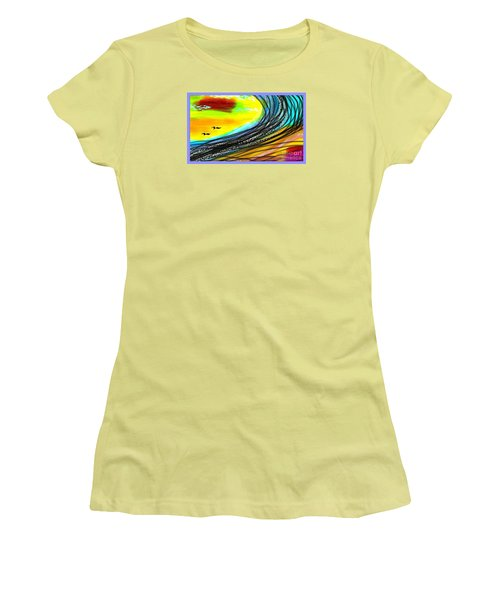 Women's T-Shirt (Junior Cut) featuring the painting Sea by The Art of Alice Terrill