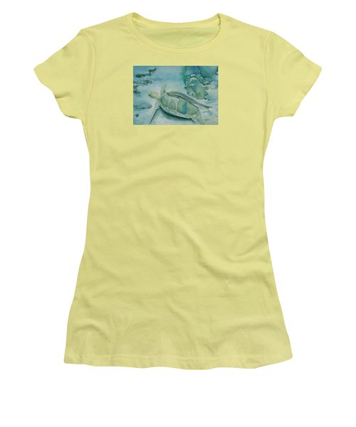 Sea Turtle And Friend Women's T-Shirt (Athletic Fit)