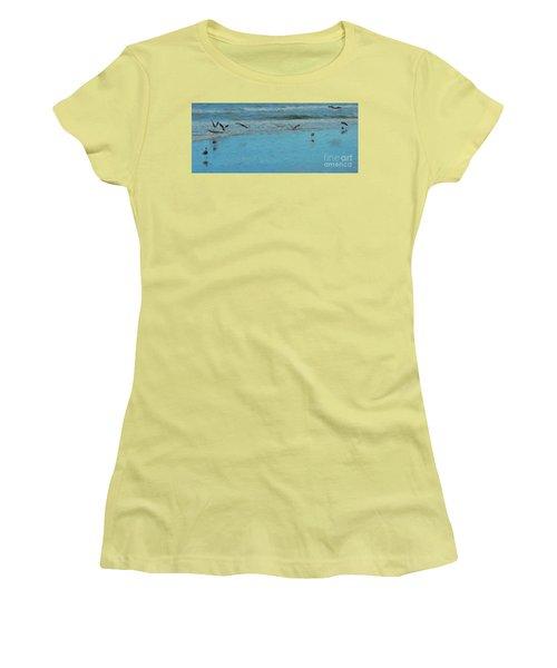 Women's T-Shirt (Junior Cut) featuring the photograph Seagulls At Myrtle Beach by Mim White