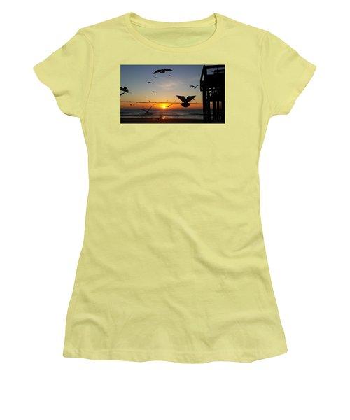 Seagulls At Sunrise Women's T-Shirt (Junior Cut) by Robert Banach