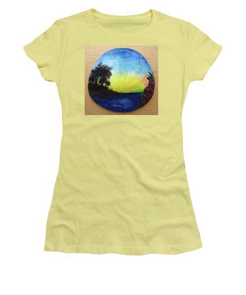 Seascape On A Sand Dollar Women's T-Shirt (Athletic Fit)