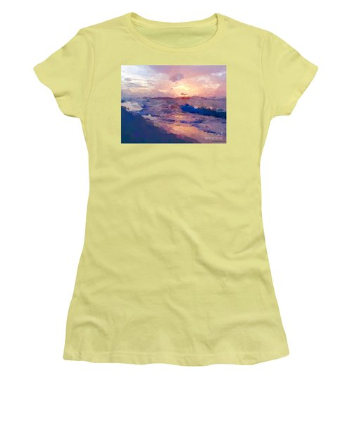 Women's T-Shirt (Junior Cut) featuring the mixed media Seaside Swirl by Anthony Fishburne