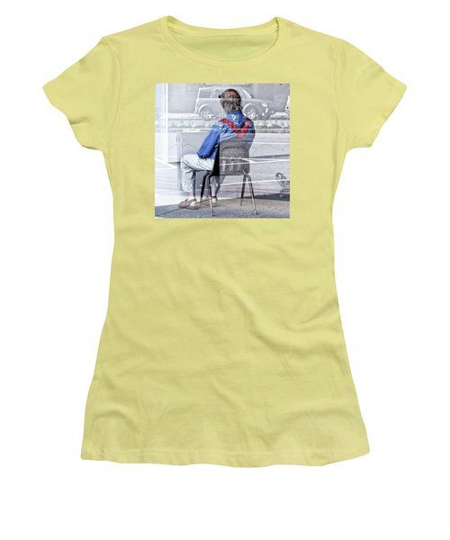 Seated Man Women's T-Shirt (Athletic Fit)