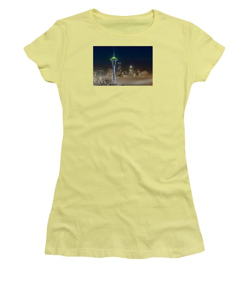 Women's T-Shirt (Junior Cut) featuring the photograph Seattle Foggy Night Lights by Ken Stanback